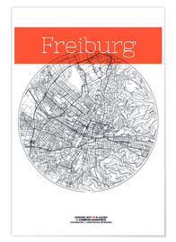 Premium poster  Freiburg map circle - campus graphics