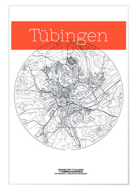 Premium poster  Tübingen map circle - campus graphics