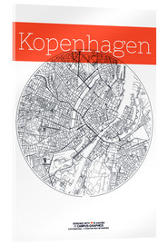 Acrylic glass  Copenhagen map city black and white - campus graphics