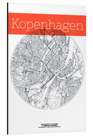 Alu-Dibond  Copenhagen map city black and white - campus graphics