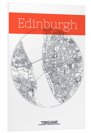 Foam board print  Edinburgh map circle - campus graphics