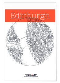 Premium poster  Edinburgh map circle - campus graphics