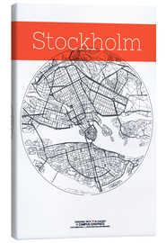 Canvas  Stockholm map city black and white - campus graphics