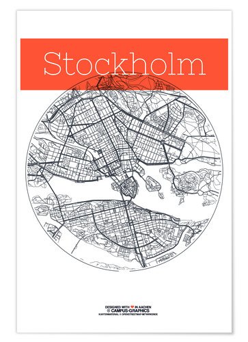 Premium poster Stockholm map circle