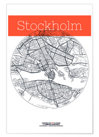 Premium poster  Stockholm map circle - campus graphics