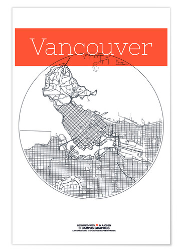 Poster Vancouver Map City Black and White