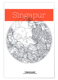 Premium poster  Singapore map circle - campus graphics