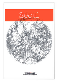 Poster Seoul map city black and white