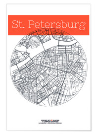 Poster St Petersburg map city black and white