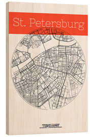 Wood  St Petersburg map city black and white - campus graphics