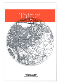 Poster Taipei Map City Black and White