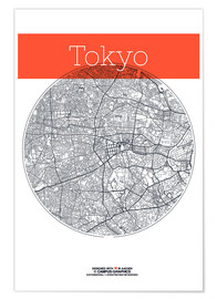 Poster Tokyo Card City Black and White