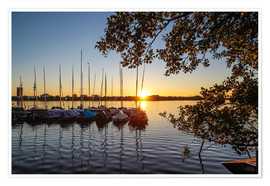 Premium poster Sunset on the river Elbe in Hamburg