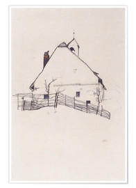 Poster  Residential house with fence - Egon Schiele