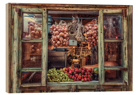 Wood print  Window with vegetables - Friedhelm Peters