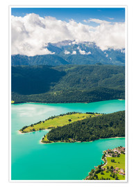 Premium poster Walchensee from above