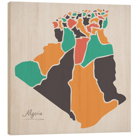 Wood print  Algeria map modern abstract with round shapes - Ingo Menhard