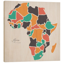 Wood print  Africa map modern abstract with round shapes - Ingo Menhard