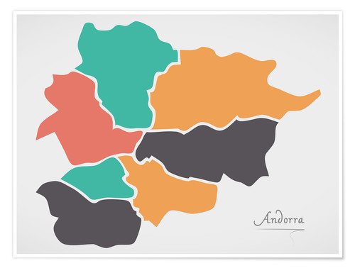 Premium poster Andorra map modern abstract with round shapes