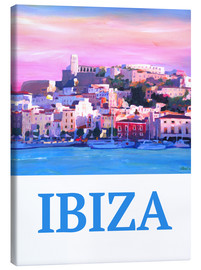 Canvas  Retro Poster Ibiza Old Town and Harbour Pearl Of the Mediterranean - M. Bleichner