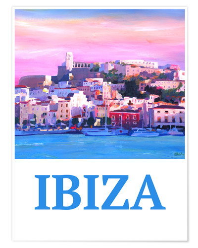 Poster Retro Poster Ibiza Old Town and Harbour Pearl Of the Mediterranean