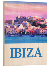 Wood print  Retro Poster Ibiza Old Town and Harbour Pearl Of the Mediterranean - M. Bleichner