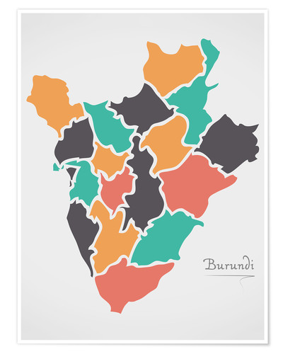 Premium poster Burundi map modern abstract with round shapes