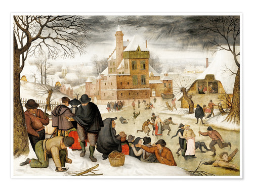 Premium poster Winterlandscape with skaters