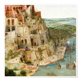 Poster  Tower of Babel (detail) - Pieter Brueghel d.Ä.