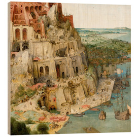 Wood print  Tower of Babel (detail) - Pieter Brueghel d.Ä.