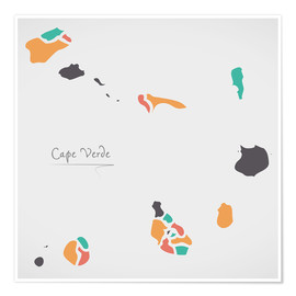 Premium poster Cape Verde map modern abstract with round shapes