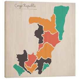 Wood print  Republic of the Congo map modern abstract with round shapes - Ingo Menhard