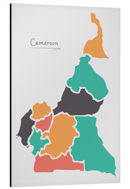 Aluminium print  Cameroon map modern abstract with round shapes - Ingo Menhard