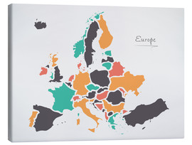 Canvas print  Europe map modern abstract with round shapes - Ingo Menhard