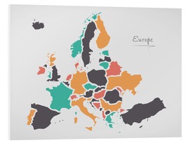 Foam board print  Europe map modern abstract with round shapes - Ingo Menhard