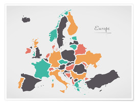 Premium poster  Europe map modern abstract with round shapes - Ingo Menhard