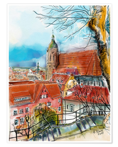 Premium poster Pirna, View to the Church of St. Mary