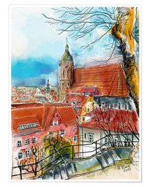Poster  Pirna, View to the Church of St. Mary - Hartmut Buse