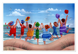 Poster  Beach party rainbow scene - Peter Adderley