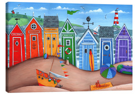 Canvas  Beach hut rainbow scene - Peter Adderley