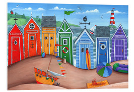 Foam board print  Beach hut rainbow scene - Peter Adderley