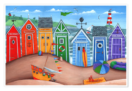 Poster  Beach hut rainbow scene - Peter Adderley