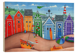Wood  Beach hut rainbow scene - Peter Adderley
