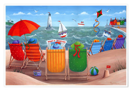 Poster  What a Scorcher rainbow beach scene - Peter Adderley