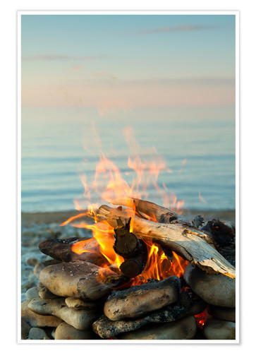 Premium poster Inviting campfire on the beach
