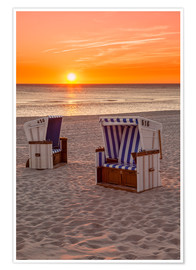 Premium poster Sunset at the Baltic Sea beach