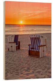 Wood print  Sunset at the Baltic Sea Beach