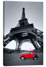 Canvas  Vintage red car stands on the Champ de Mars