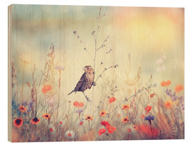 Wood print  Field with wild flowers