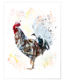 Digital painting of a colorful rooster